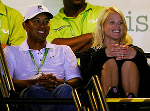 Tiger Woods and his wife, Elin, watched the match from the stadium club level.