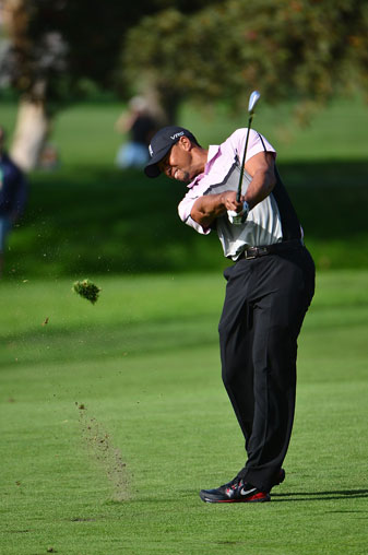 Tiger Woods made a triple bogey, two double bogeys and a bogey on his opening nine holes Saturday.