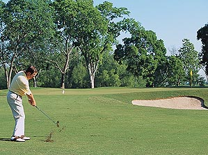 Playing to a tucked pin.