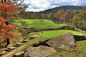 The 9th at Pete Dye Golf Club.
