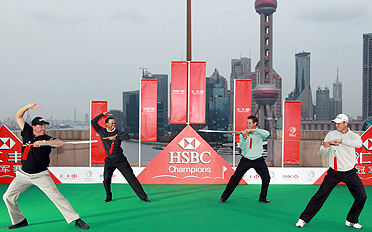 From left, Phil Mickelson, Tiger Woods, Lee Westwood and Martin Kaymer tried tai chi as part of the pre-tournament festivities.