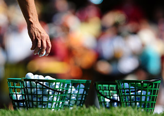 On Tour, practice ranges provide the pros with any kind of ball they wish to practice with.