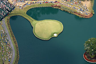 The infamous island-green 17th hole at TPC Sawgrass.