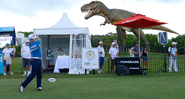 A mechanical T-Rex named Jeff is on display between the ninth green and 10th tee at the Palmer Coolum Resort.