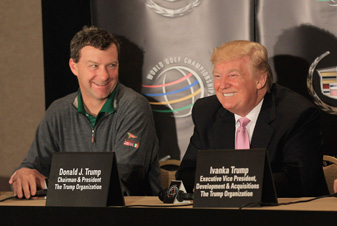 Golf course designer Gil Hanse, left, and Donald Trump will begin renovating the Blue Monster after the tournament ends this weekend.