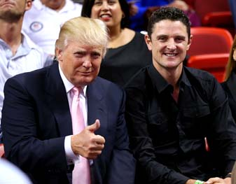 Donald Trump and Justin Rose watch a game between the Miami Heat and the Los Angeles Lakers at American Airlines Arena on February 10 in Miami, Fla.