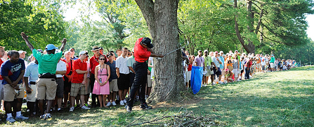 Tiger Woods hooked a 9-iron around a tree on the 12th hole Sunday at Congressional.