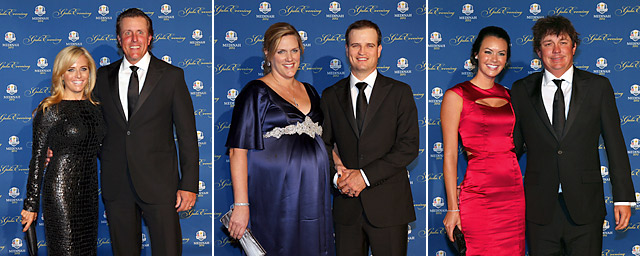 From left to right: Amy and Phil Mickelson; Kim and Zach Johnson; Amanda and Jason Dufner.