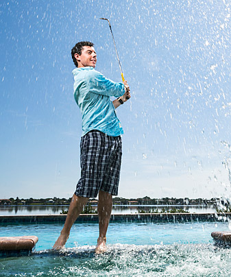 POOL BOY: McIlroy in the backyard of his Jupiter Island, Fla., residence.