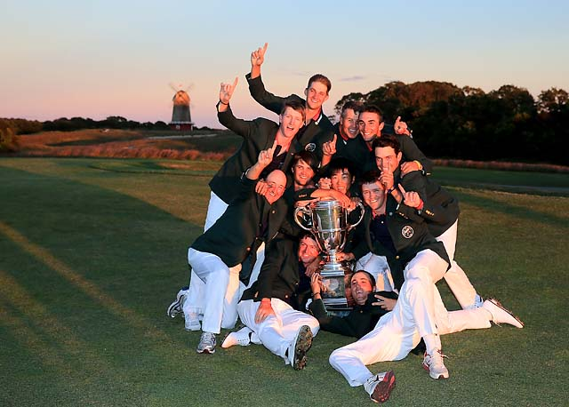 The victorious U.S. team celebrates its win at the closing ceremony of the Walker Cup on Sunday at the National Golf Links of America in Southampton, N.Y.