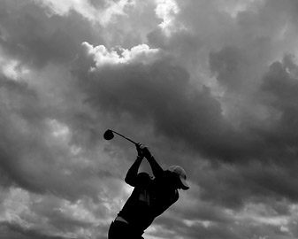 Rory McIlroy got some practice in beneath threatening skies Tuesday at Kiawah Island.