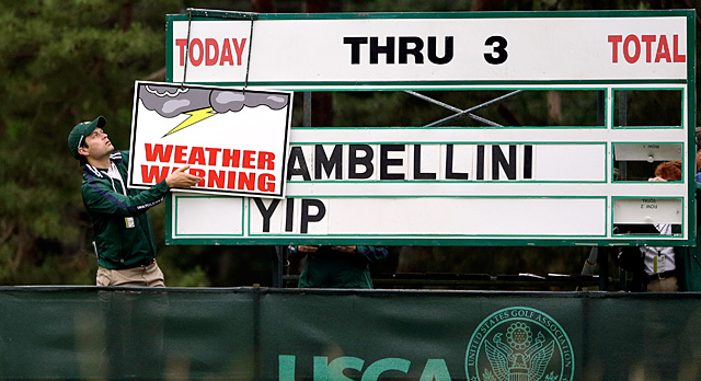 Storms halted play at 8:36 a.m. on Thursday.