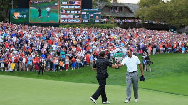 Tiger Woods beat Matt Kuchar on Wednesday morning.