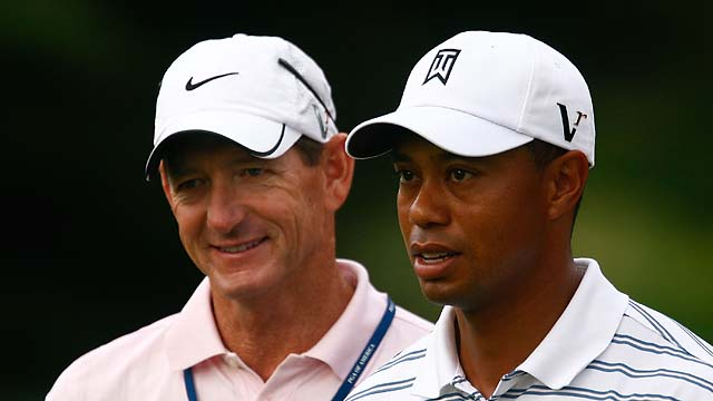 Hank Haney and Tiger Woods at the 2009 PGA Championship.