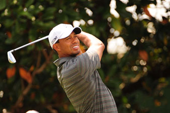 Tiger Woods made five birdies, two bogeys and a double bogey.