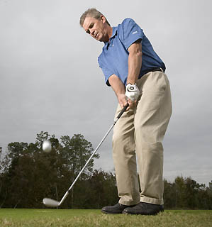 """Think """"square"""" clubface, not """"closed"""" clubface to produce crisp, on-target chips."""