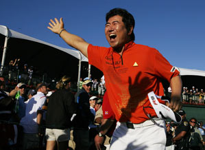 Yang predicted that a 68 on Sunday would win it.