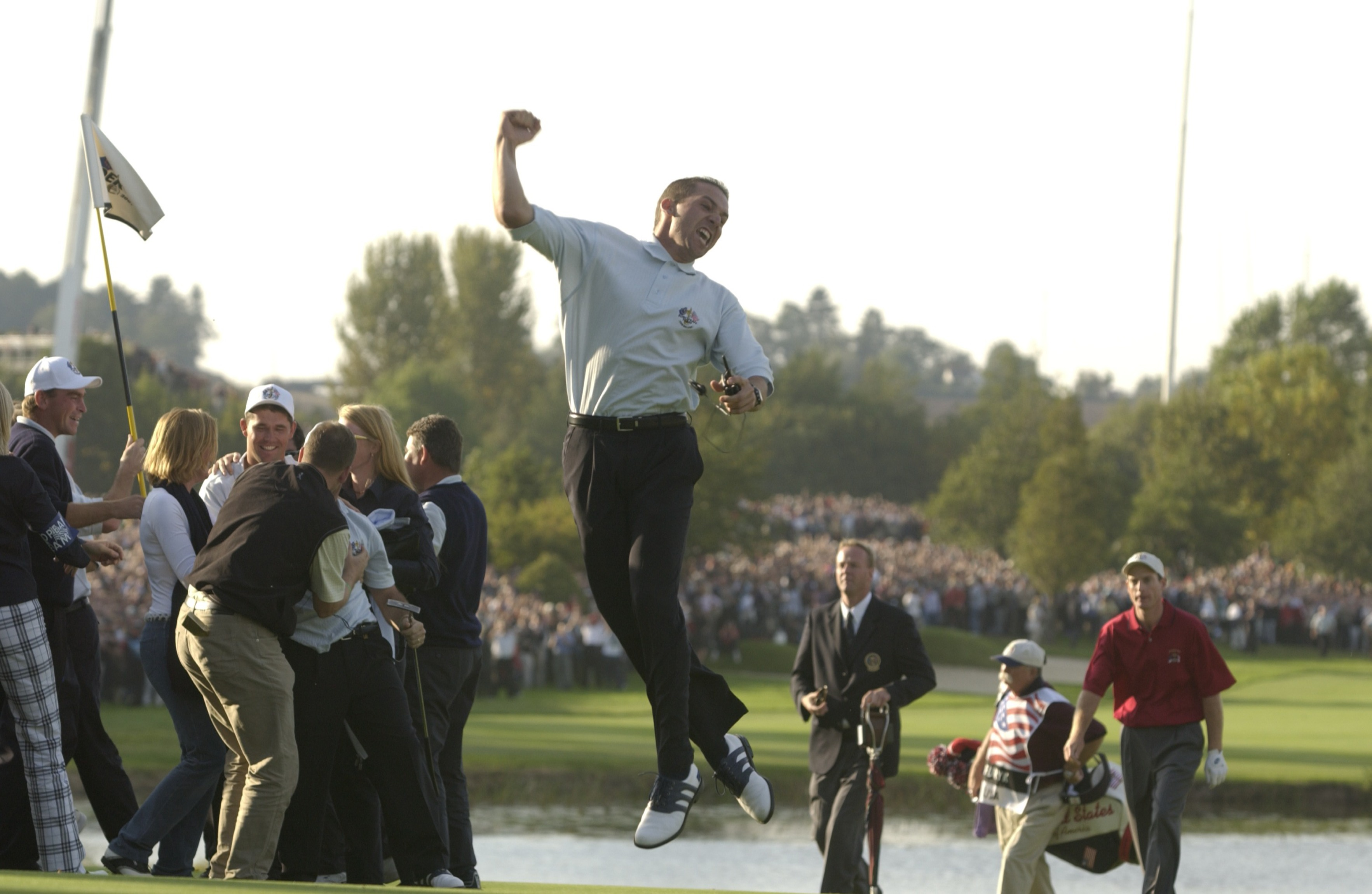 2002 Ryder Cup                           The Belfry                           Sutton Coldfield, England                           Paired with Lee Westwood, Garcia won his Friday four-ball and foursomes matches, and he won again with Westwood in Saturday morning's foursomes to earn a third point for Europe. The pair lost to Woods and Davis Love III that afternoon, and Garcia lost his singles match Sunday to David Toms. But when Europe won the Cup, no one celebrated more than Garcia.