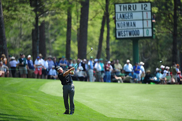 Playing in the Masters for the first time in seven years, Greg Norman opened with a two-under 70.