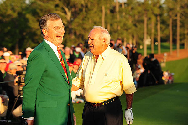 """No one has meant more to the great game of golf than our honorary starter,"" Masters chairman Billy Payne said before the shot. ""He is a fierce competitor and loved around the world. Ladies and gentlemen, please join me in welcoming four-time Masters champion, Mr. Arnold Palmer."""
