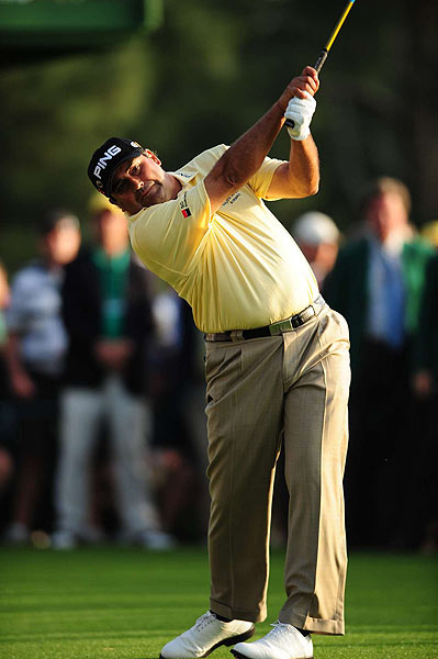 On 18, the first playoff hole, Cabrera sent his drive to a tough position behind a tree, but went on to par the hole.