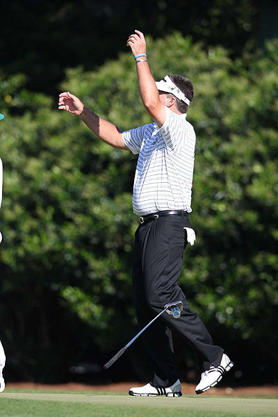 He missed a birdie putt on the 11th hole, but finally picked up a stroke with a birdie on the par-3 12th.