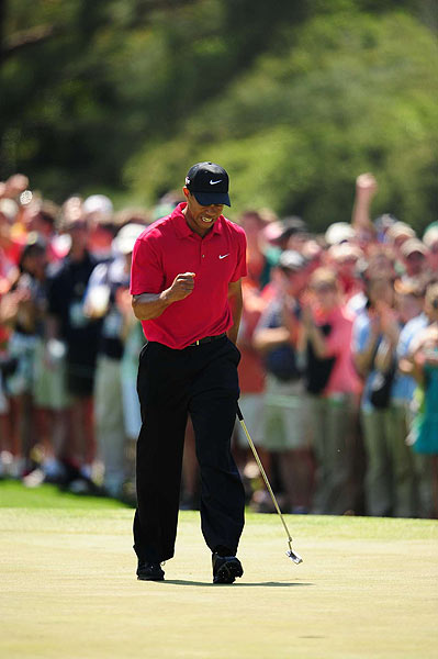 Despite the driving issues, Woods birdied the second hole and sunk a long putt on the par-5 eighth hole for an eagle, which moved him closer to the lead.