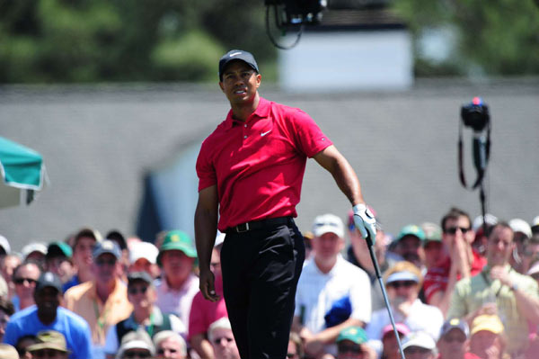 This was a common, disappointed stance for Tiger Woods on the front nine, as he struggled to find the fairway off the tee.