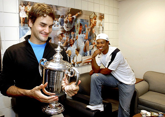 As a guest of stylish 2006 U.S. Open winner and good pal Roger Federer, Tiger pulls out his best duds: jeans, white T-shirt and backwards baseball cap.