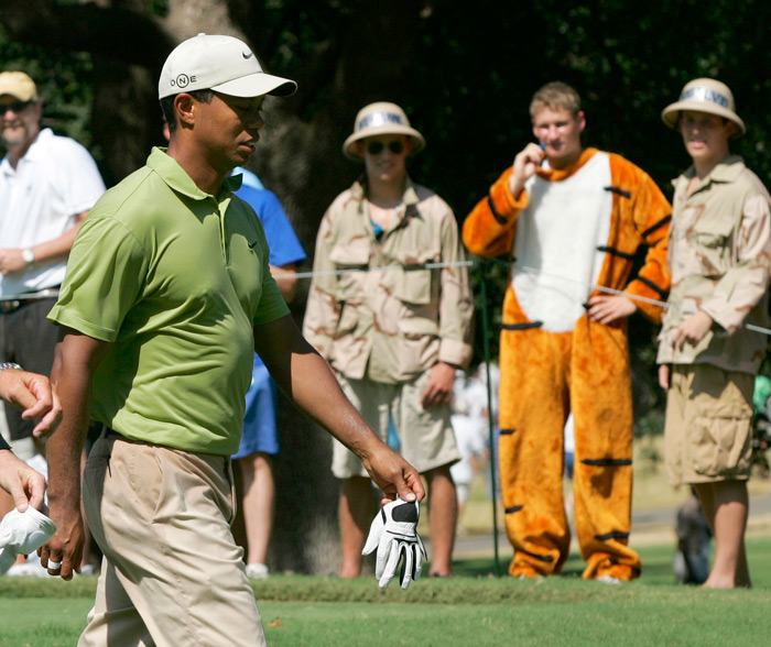 With temperatures well above 90 degress, this fan wisely did not wear his mask at the 2007 PGA in Tulsa.