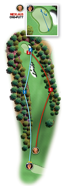 Par-4 10th (Camellia)                       1986: 485 yards                       Jack Nicklaus ... Birdie                                              2004: 495 yards                       Phil Mickelson ... Par                                              Changes from 1986 to 2004: Tee moved back 10 yards and left five yards                                              Jack                       1. Driver, 290 yards, right rough                       2. Four-iron, 195 yards, front right of green