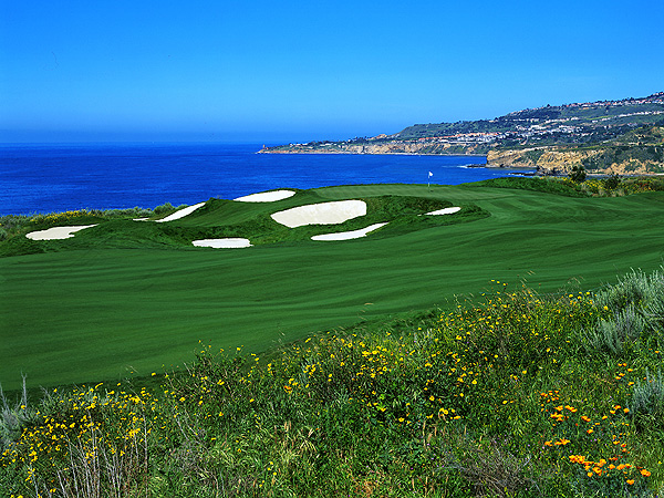 Trump National Golf Club Los Angeles                       Rancho Palos Verdes, Calif.                       310-265-5000, trumpbational.com                       The Donald's public-access layout perched on bluffs above the Pacific has a cluster of terrific holes and endless views of the ocean. Critics harp that the front nine is cramped, but they can't argue with the service or the private club ambience of the clubhouse, locker rooms and especially restaurants, which dish out food that's as flawless as the scenery. Plus, it's only half an hour from LAX.