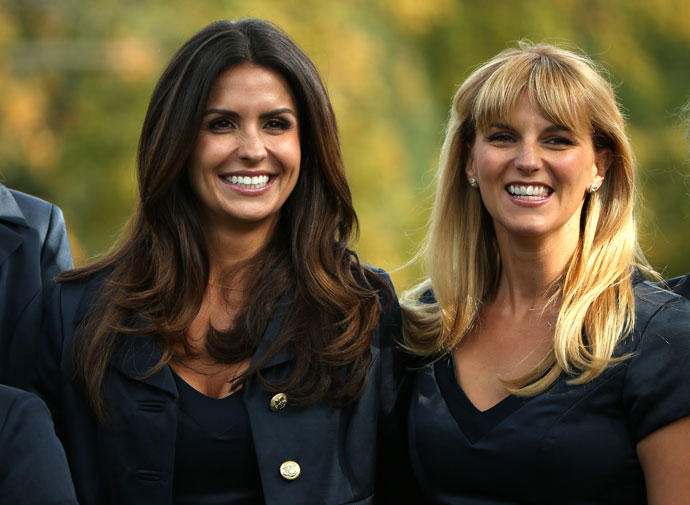 Kristin Stape (left) and Kate Rose attend the Opening Ceremony for the 39th Ryder Cup at Medinah Country Club.