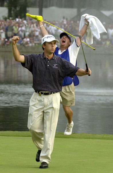 No. 11 | 2001:  Trailing Phil Mickelson by one on Saturday at Atlanta Athletic Club, David Toms knocked a 5-wood over the lake that guarded the right-front of the green at the brutal 243-yard, par-3 15th. The ball took two bounces, hit the stick—and dropped in for an ace. Toms threw his arms skyward, but there was one better thrust to come, on the 72nd hole, when Toms laid up with his second, wedged to 12 feet, then rolled in the par putt for a one-shot win.