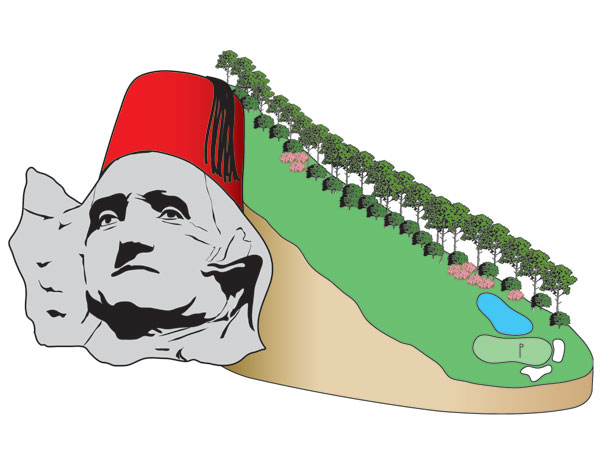 11th hole                       Drop from 11th tee to 11th green = 62 feet                       George Washington's head on Mt. Rushmore (60 feet), with General Washington wearing a 2-foot fez = 62 feet