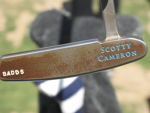 The raw steel of this Scotty Cameron putter, which belongs to Aaron Baddeley, has started to rust. However, if you look carefully in the center of the face, you'll notice that the rust is much less prevalent because that's where Baddeley makes contact with the ball on nearly every putt.