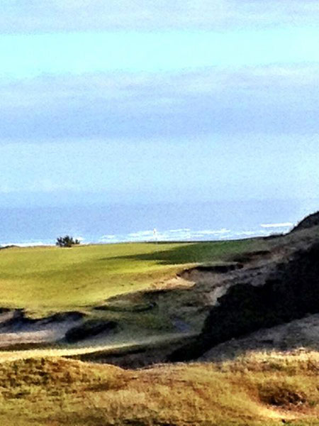"""@eamonlynch: The 13th at Pacific Dunes, seen from the 14th green. 7:46am. About 12 hours to go."""