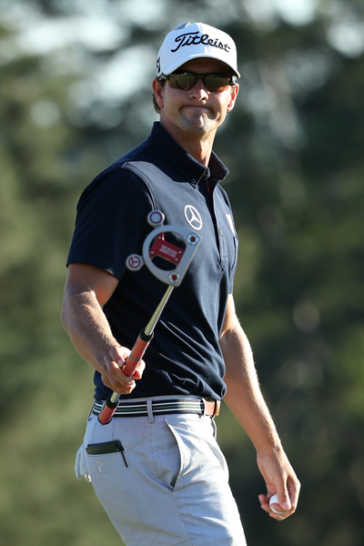 BEST: ADAM SCOTT                       Scott always wears his clothes well, but most of his Masters looks thus far have been very plain. Today's ensemble, however, showcases a cool striped belt, which elevates what could have easily been a lackluster look.