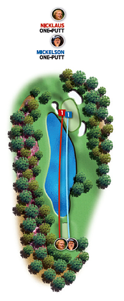 Par-3 16th (Redbud)                       1986: 170 yards                       Jack Nicklaus ... Birdie                       2004: 170 yards                       Phil Mickelson ... Birdie                                              Changes from 1986 to 2004: None                                              Jack                                              1. Five-iron, 182 yards, short                                              2. Three-foot birdie putt                                              Phil                                              1. Eight-iron, 178 yards, short                                              2. 18-foot birdie putt