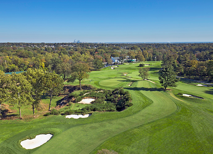 The Philadelphia skyline can be seen off in the distance on the par-4 16th hole at Merion Golf Club's East Course.
