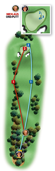 Par-4 17th (Nandina)                       1986: 400 yards                       Jack Nicklaus ... Birdie                       2004: 425 yards                       Phil Mickelson ... Par                                              Changes from 1986 to 2004: Tee moved back 25 yards                                              Jack                                              1. Driver, 280 yards, left rough                                              2. Pitching wedge, 125 yards, left                                              3. 11-foot birdie putt                                              Phil                                              1. Driver, 305 yards, middle of fairway                                              2. Gap wedge, 135 yards, long                                              3. 20-foot putt, long and left                                              4. One-foot par putt