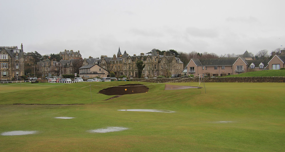 "The official press release stated, ""The work will widen the Road Bunker on the 17th hole by half a metre at the right hand side and recontour a small portion of the front of the green to enable it to gather more approach shots landing in that area."""