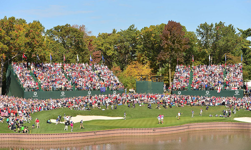 The scene at the 13th hole on Saturday.