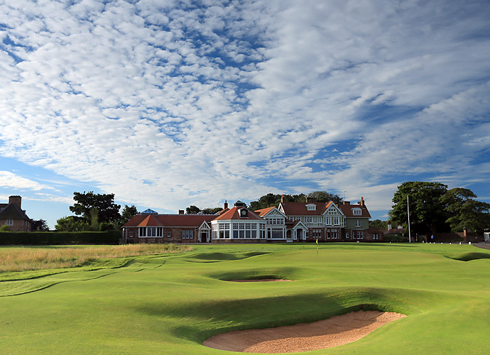 The iconic 18th hole and clubhouse. The last Open at Muirfield was in 2002, when Ernie Els took home the claret jug.
