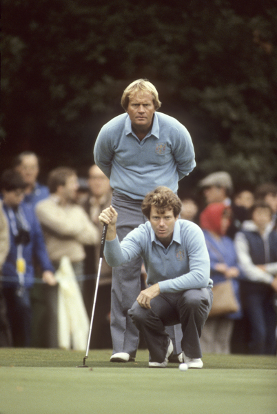 Watson with Jack Nicklaus at the 1981 Ryder Cup. Watson also played for the U.S. in 1977, 1983 and 1989, and served as U.S. captain in 1993. His teams went 4-1.
