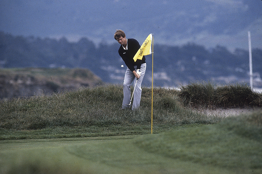 Watson's chip-in for birdie from deep rough at Pebble's par-3 17th remains one of golf's iconic shots.