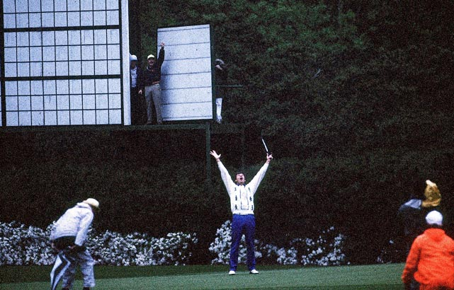Nick Faldo holed a long birdie putt in near-darkness on the second playoff hole to win the 1989 Masters.