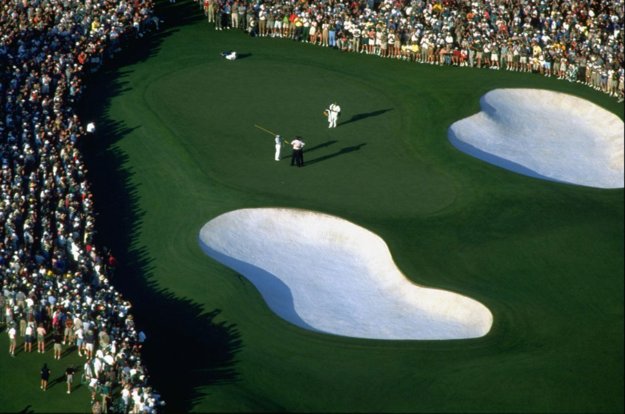 1996: The plan here was to be flying over the 18th green on Sunday as the last putt was holed and get the winner's reaction. Everyone was expecting a coronation, as Greg Norman was holding a six-stroke lead going into the final round, but instead photographer Jim Gund captured the wonderfully poignant moment that Norman, who had imploded by losing all six strokes and five more, emotionally embraced playing partner Nick Faldo, the man who had caught and passed him.