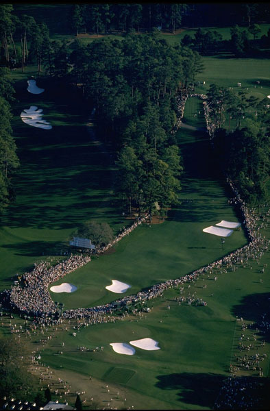 1996: An inspiring shot of the 18th surrounded by fans.