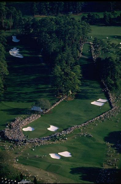 Augusta National                           An inspiring shot of the 18th surrounded by fans at the 1996 Masters.